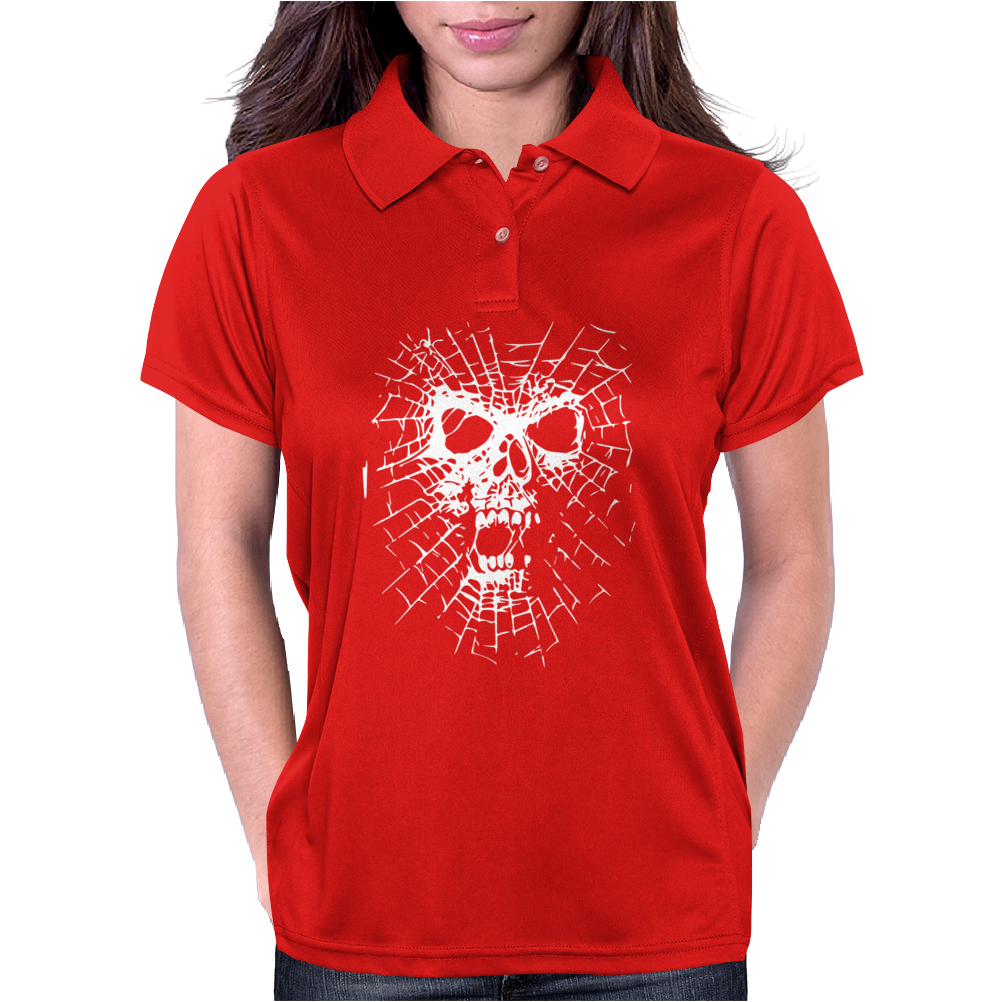 Skull Biker Chopper Skull Goth Emo Metal Punk Spider Web Womens Polo