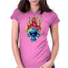 Skull on fire Womens Fitted T-Shirt