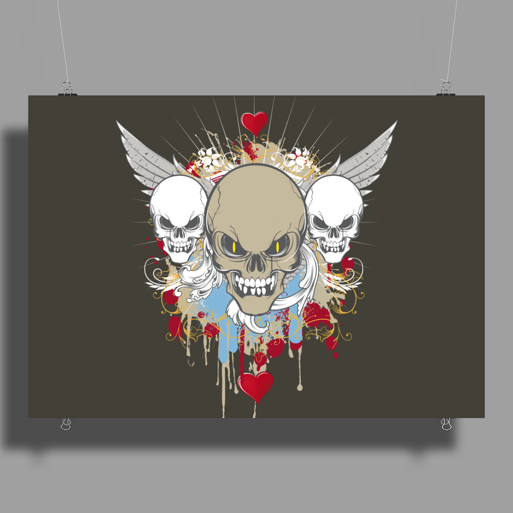 skulls skeleton halloween wings and hearts grunge style Poster Print (Landscape)