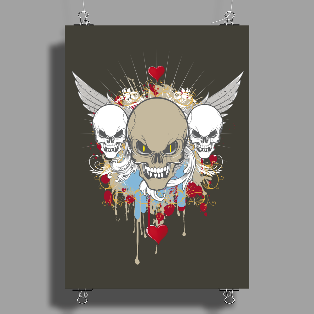 skulls skeleton halloween wings and hearts grunge style Poster Print (Portrait)