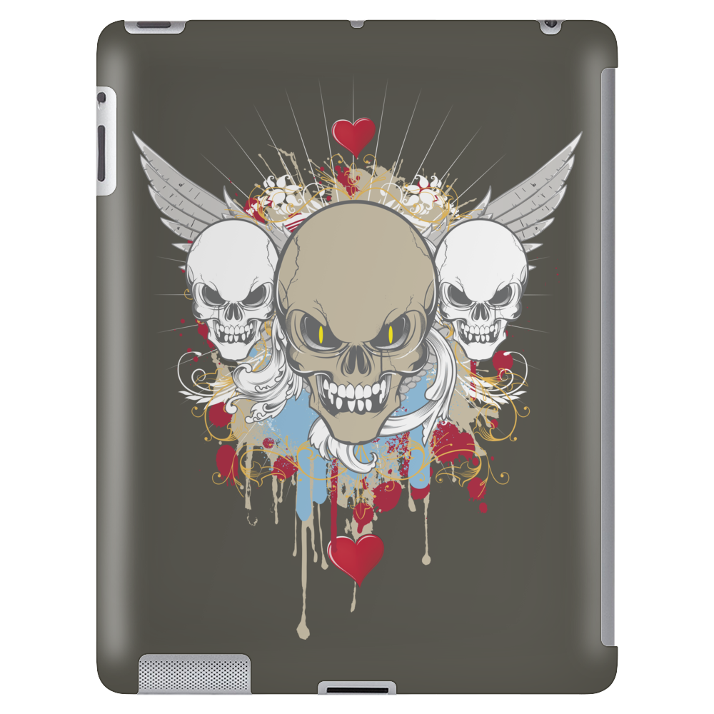 skulls skeleton halloween wings and hearts grunge style Tablet