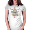 skulls skeleton halloween wings and hearts grunge style Womens Fitted T-Shirt