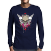 skulls skeleton pink eyes wings and hearts grunge style Mens Long Sleeve T-Shirt