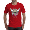 skulls skeleton pink eyes wings and hearts grunge style Mens T-Shirt