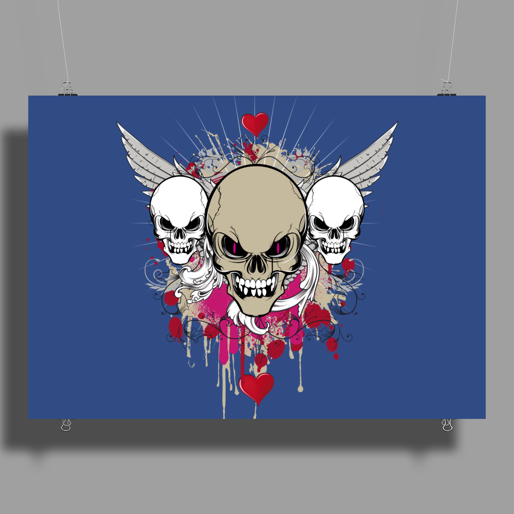 skulls skeleton pink eyes wings and hearts grunge style Poster Print (Landscape)
