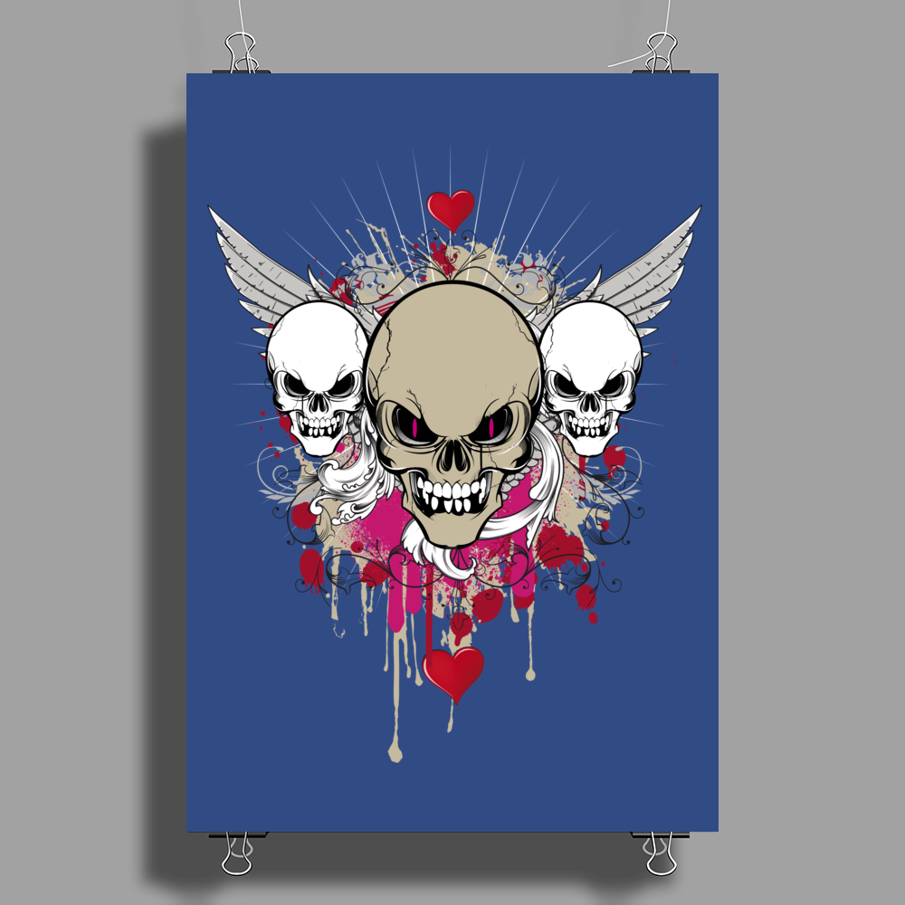 skulls skeleton pink eyes wings and hearts grunge style Poster Print (Portrait)