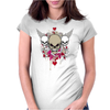 skulls skeleton pink eyes wings and hearts grunge style Womens Fitted T-Shirt