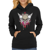 skulls skeleton pink eyes wings and hearts grunge style Womens Hoodie