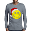 Smiley Face Wears Santa Hat Merry Christmas Mens Long Sleeve T-Shirt
