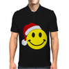 Smiley Face Wears Santa Hat Merry Christmas Mens Polo