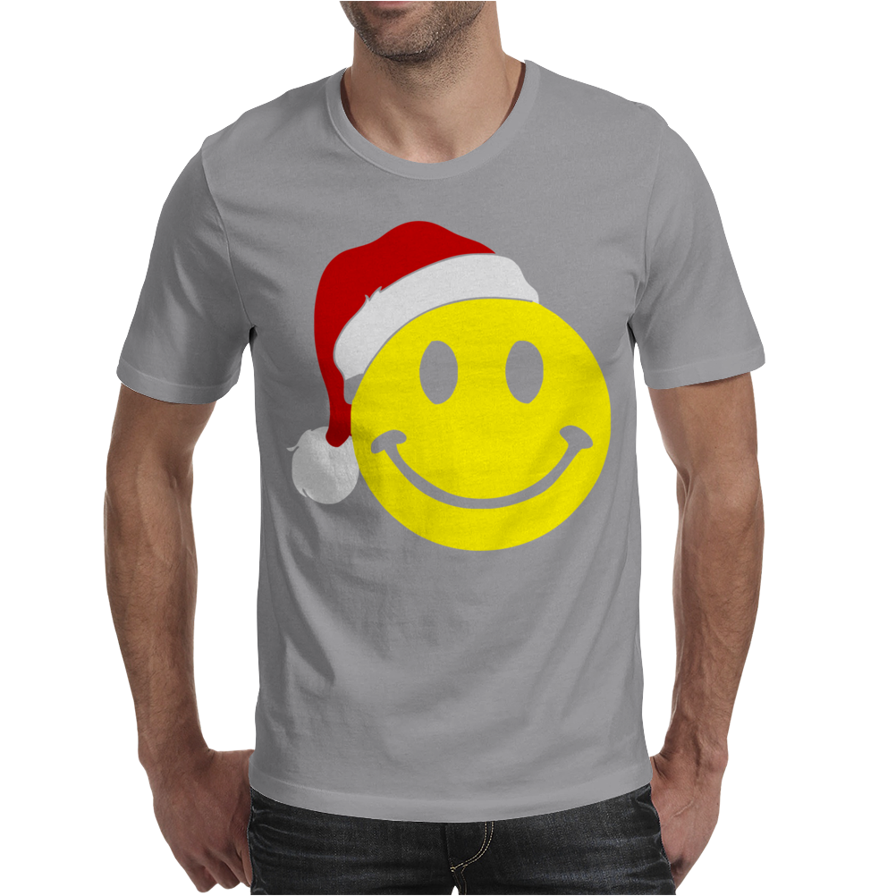 Smiley Face Wears Santa Hat Merry Christmas Mens T-Shirt