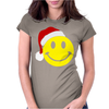 Smiley Face Wears Santa Hat Merry Christmas Womens Fitted T-Shirt