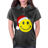 Smiley Face Wears Santa Hat Merry Christmas Womens Polo