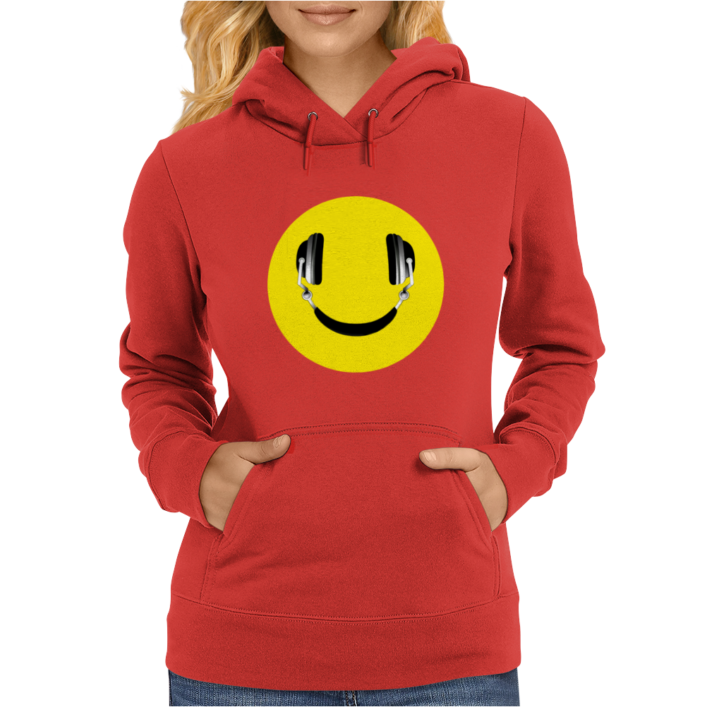 Smiley Headphones Womens Hoodie