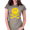 Smiley Pirate Skull and Crossbones Womens Fitted T-Shirt