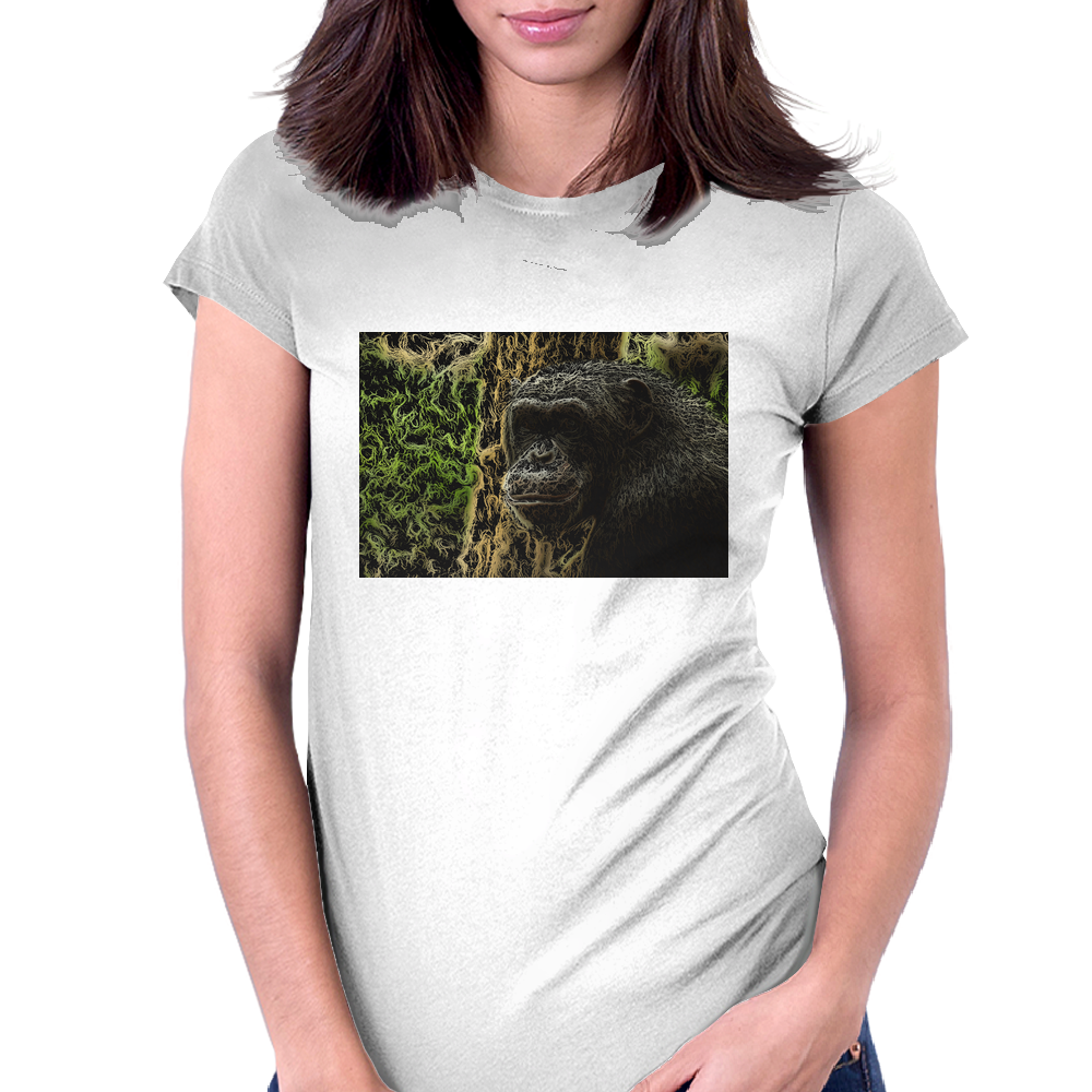 Smiling Chimpanzee Digital Art Womens Fitted T-Shirt