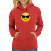 Smiling Face With Sunglasses Cool Emoji Womens Hoodie
