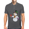Smiling Snowman Holding Out Christmas Mens Polo