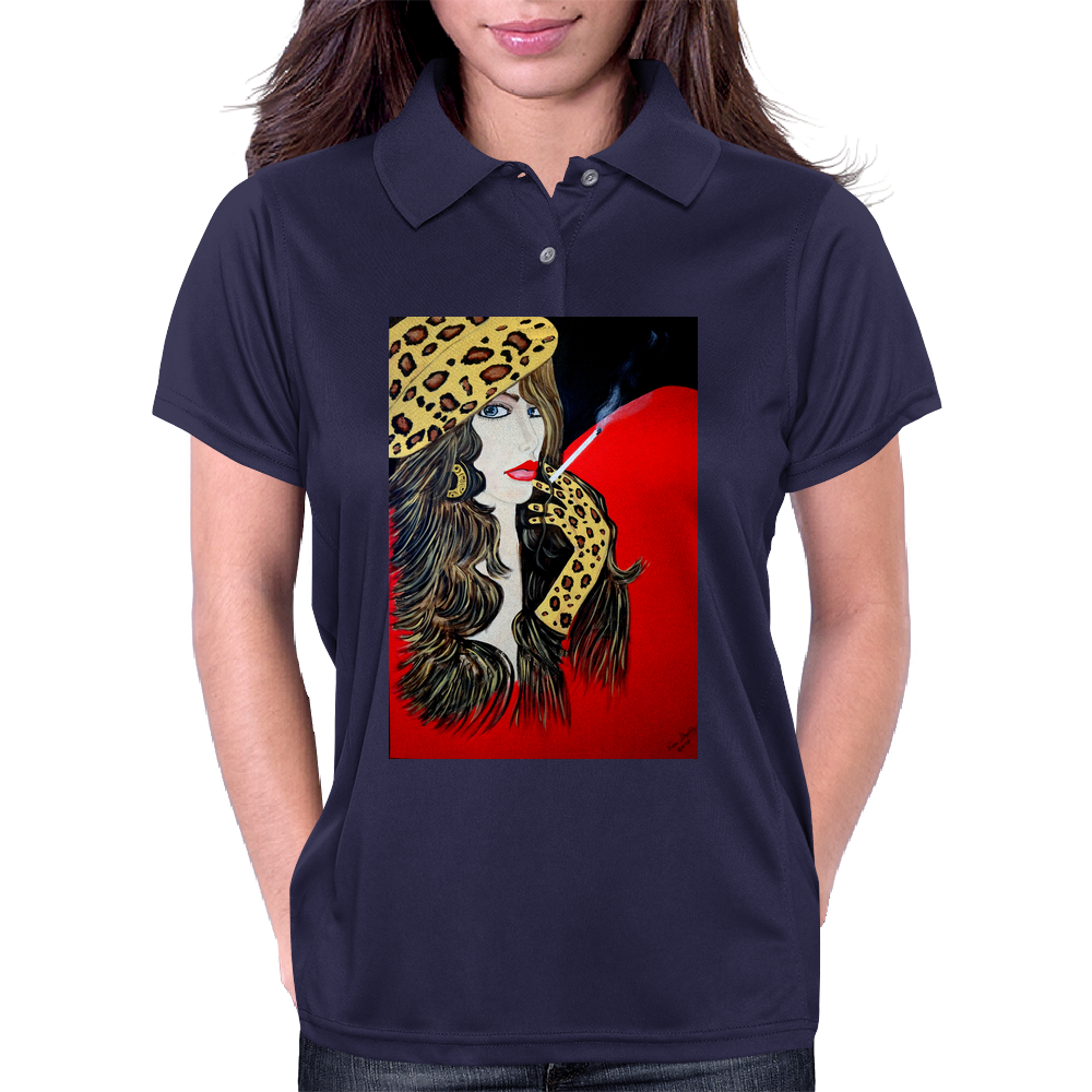 SMOKING GIRL  FAKE FUR Womens Polo