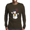 Snowman With Elvis Presley Type Quiff Hair Smiling Christmas Mens Long Sleeve T-Shirt