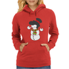 Snowman With Elvis Presley Type Quiff Hair Smiling Christmas Womens Hoodie