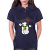 Snowman With Elvis Presley Type Quiff Hair Smiling Christmas Womens Polo