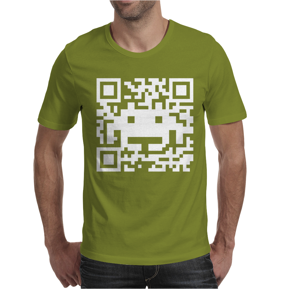 Space Alien QR Code Mens T-Shirt