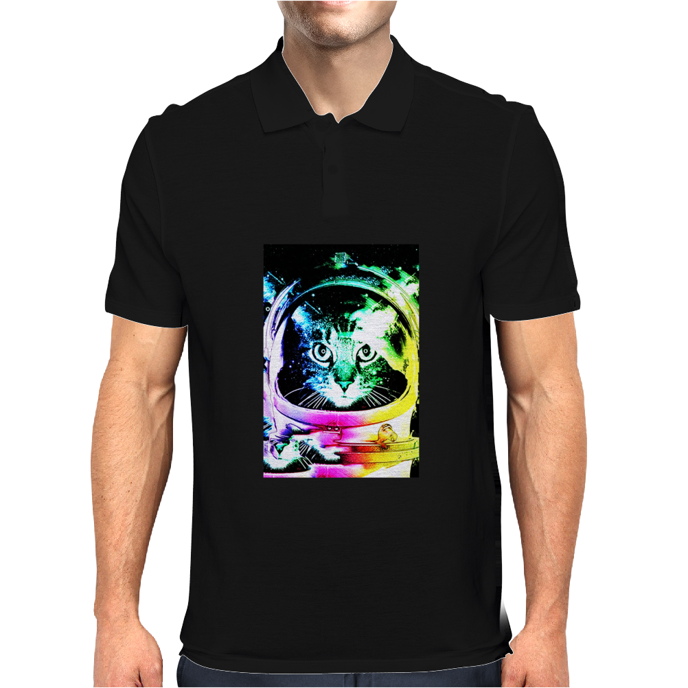 Space Cat Astronaut Mens Polo