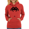 Space Invader Black Womens Hoodie