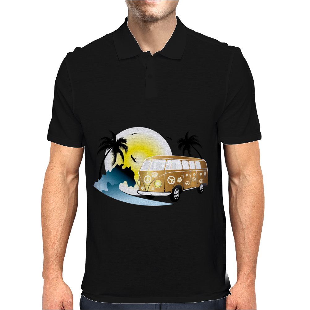 Splitty on the beach - retro van holidays Mens Polo