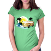 Splitty on the beach - retro van holidays Womens Fitted T-Shirt