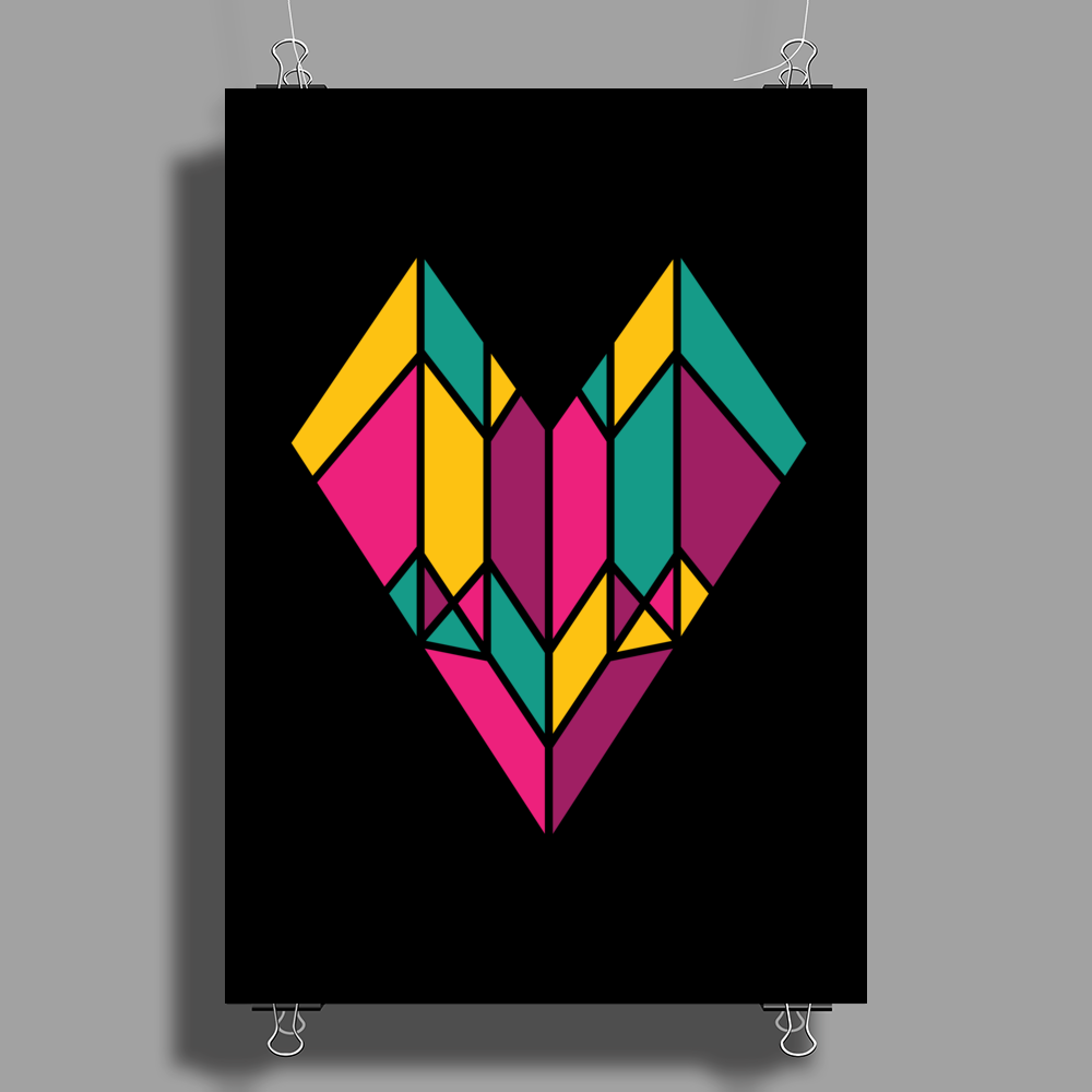 Stained Glass Heart Poster Print (Portrait)