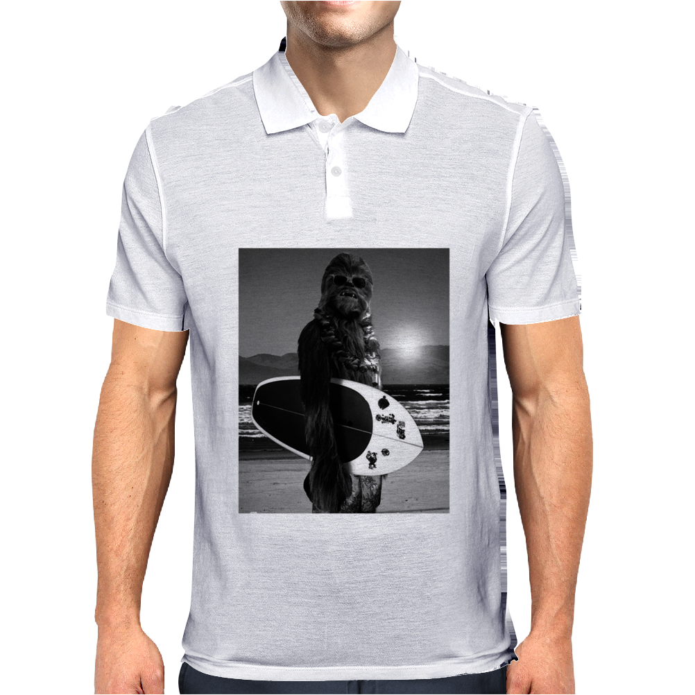 Star Wars Funny Chewbacca Surfing Mens Polo