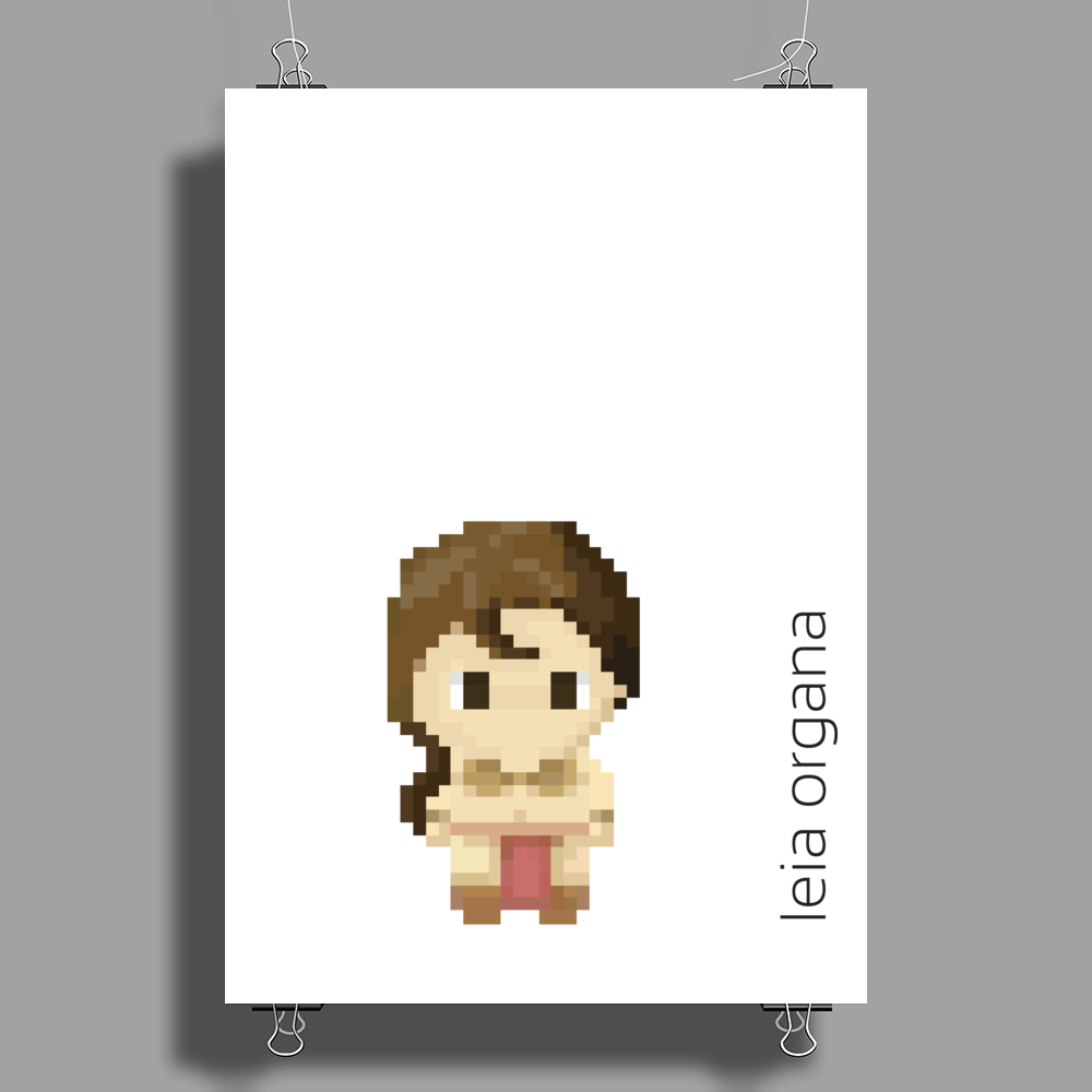 Star Wars Leia Organa pixel art by Birta Poster Print (Portrait)