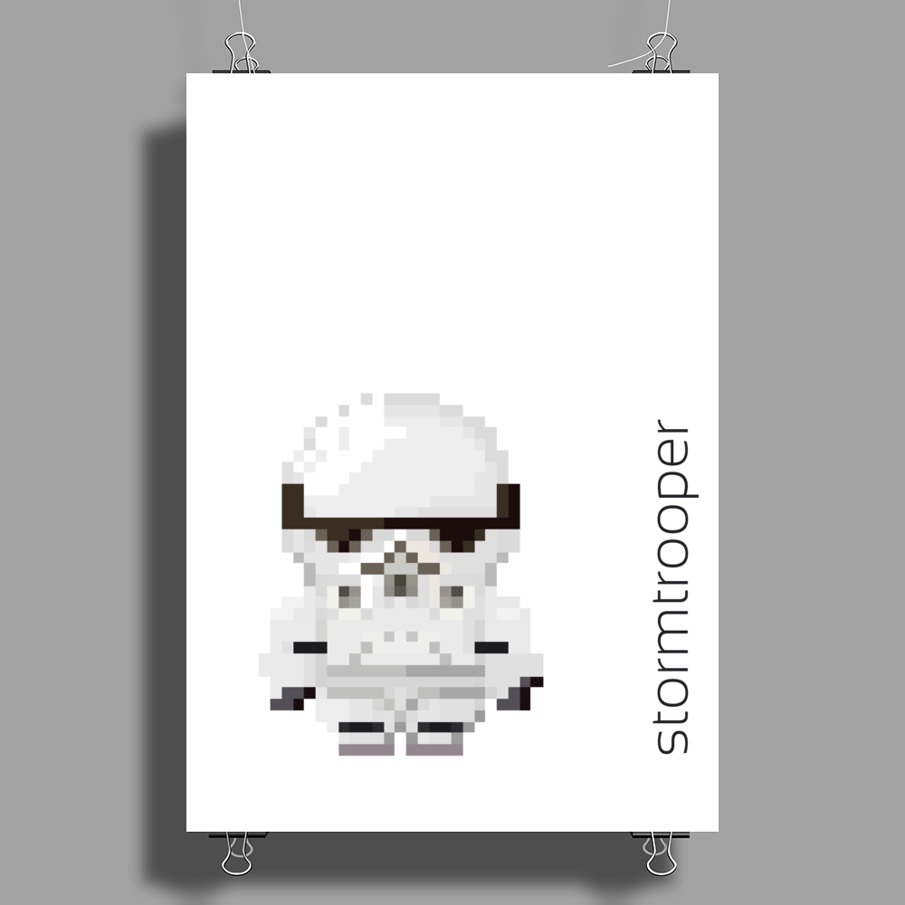 Star Wars Stormtrooper pixel art by Birta Poster Print (Portrait)