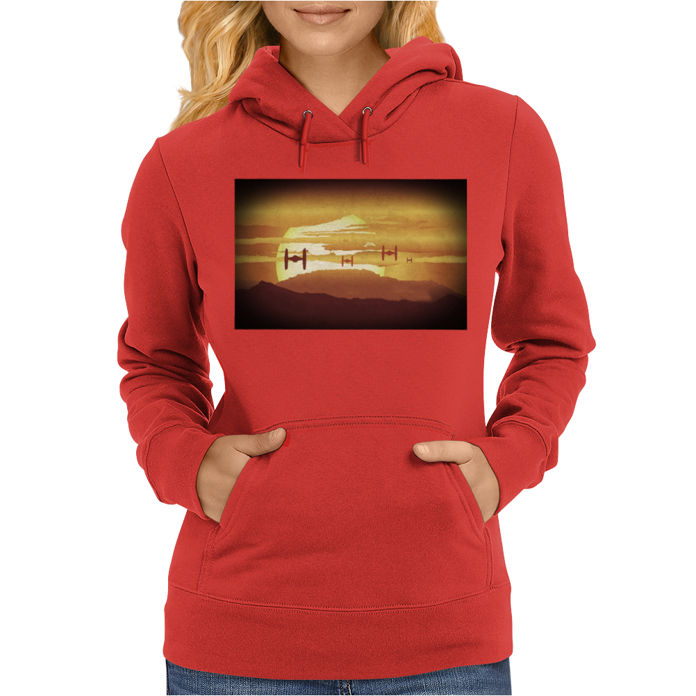 Star Wars The Force Awakens TIE Fighters In The Sunset Womens Hoodie
