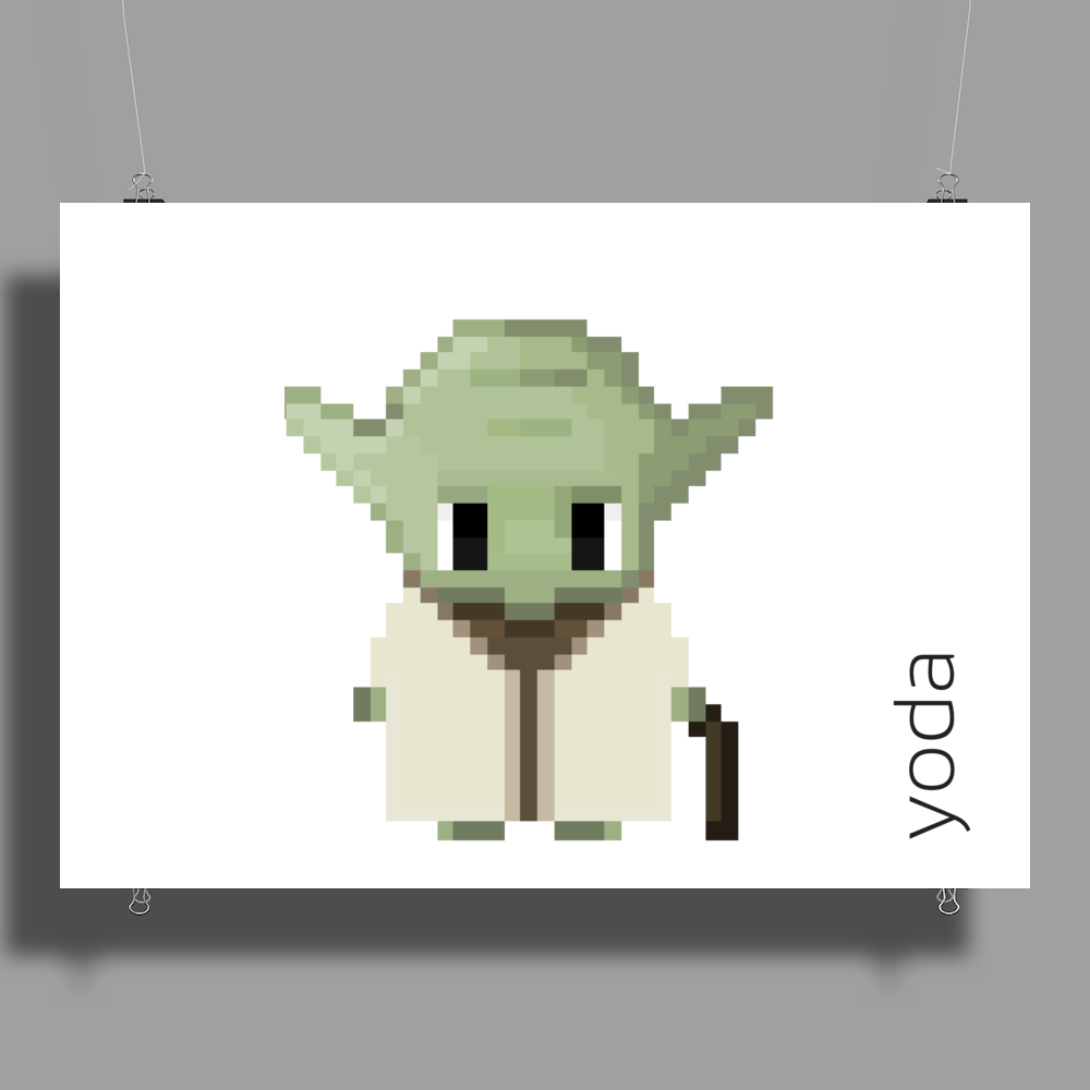 Star Wars Yoda pixel art by Birta Poster Print (Landscape)
