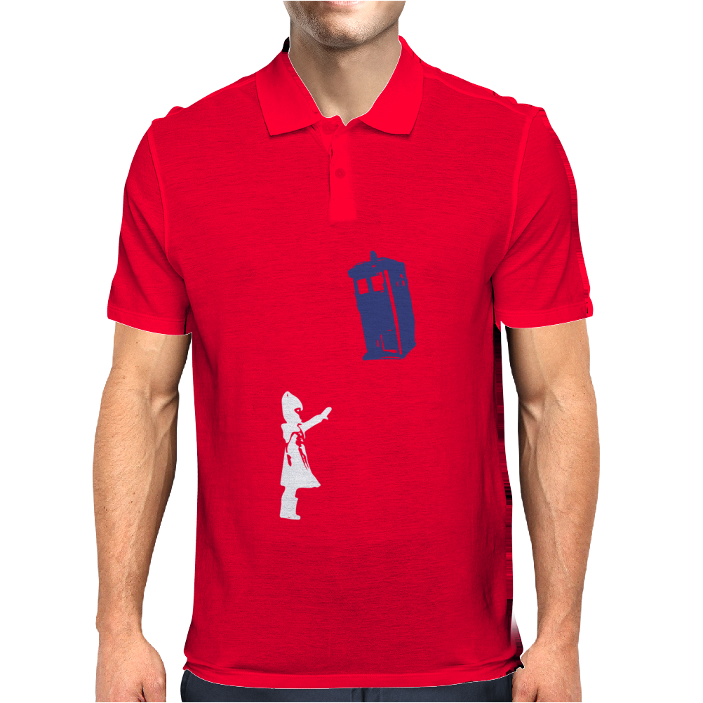 Stencil Doctor Who TARDIS Mens Polo