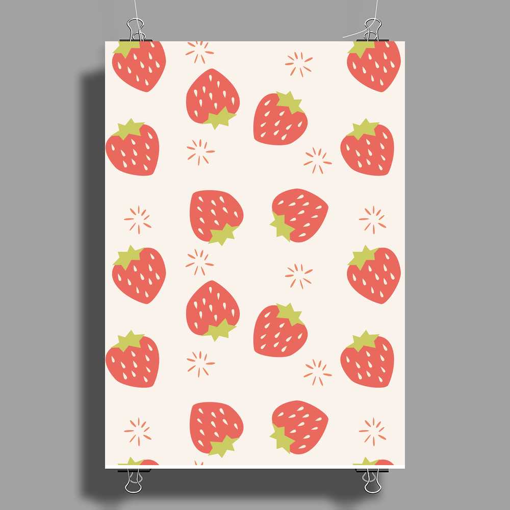 Strawberry pattern Poster Print (Portrait)