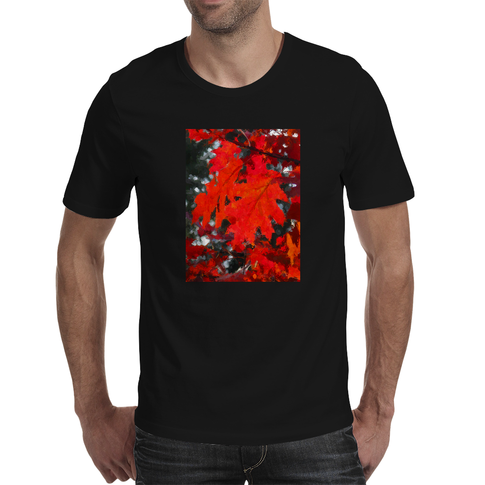Stunning Red Maple Leaf Painting Mens T-Shirt