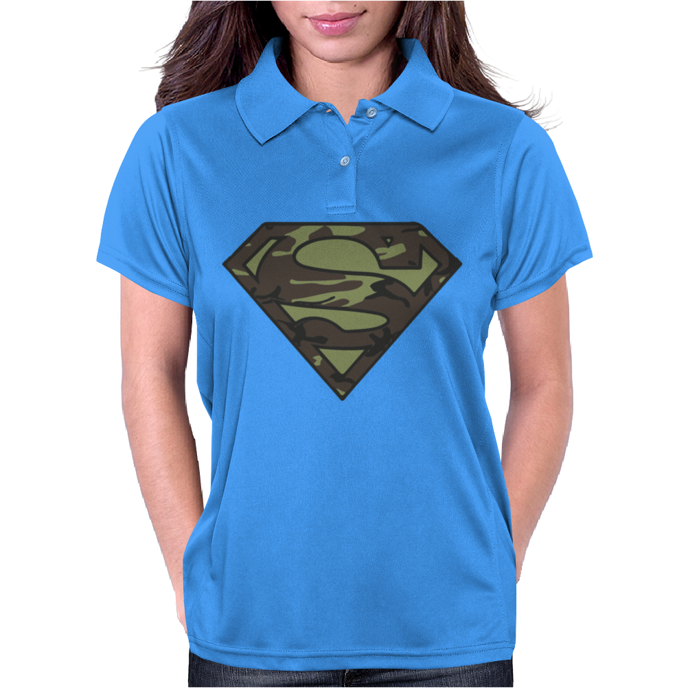 Superman Camo Camouflage Logo Womens Polo