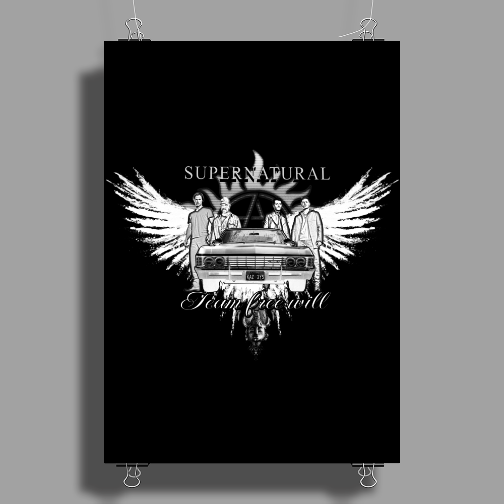 Supernatural Team Free Will White Poster Print (Portrait)