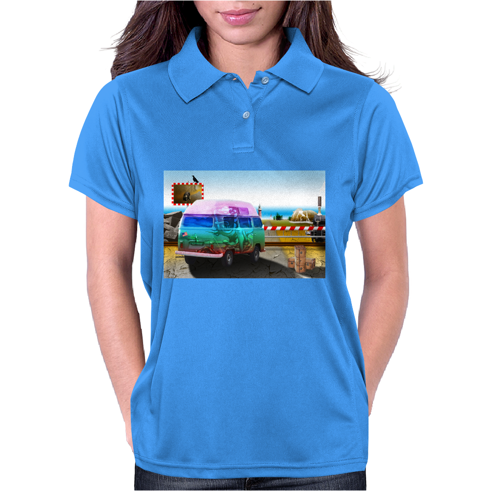 Surrealistic design by Axe-illustrations of a dreamy sunny place Womens Polo