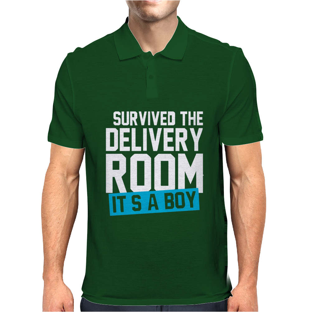 Survived The Delivery Room It's a Boy Funny Mens Polo