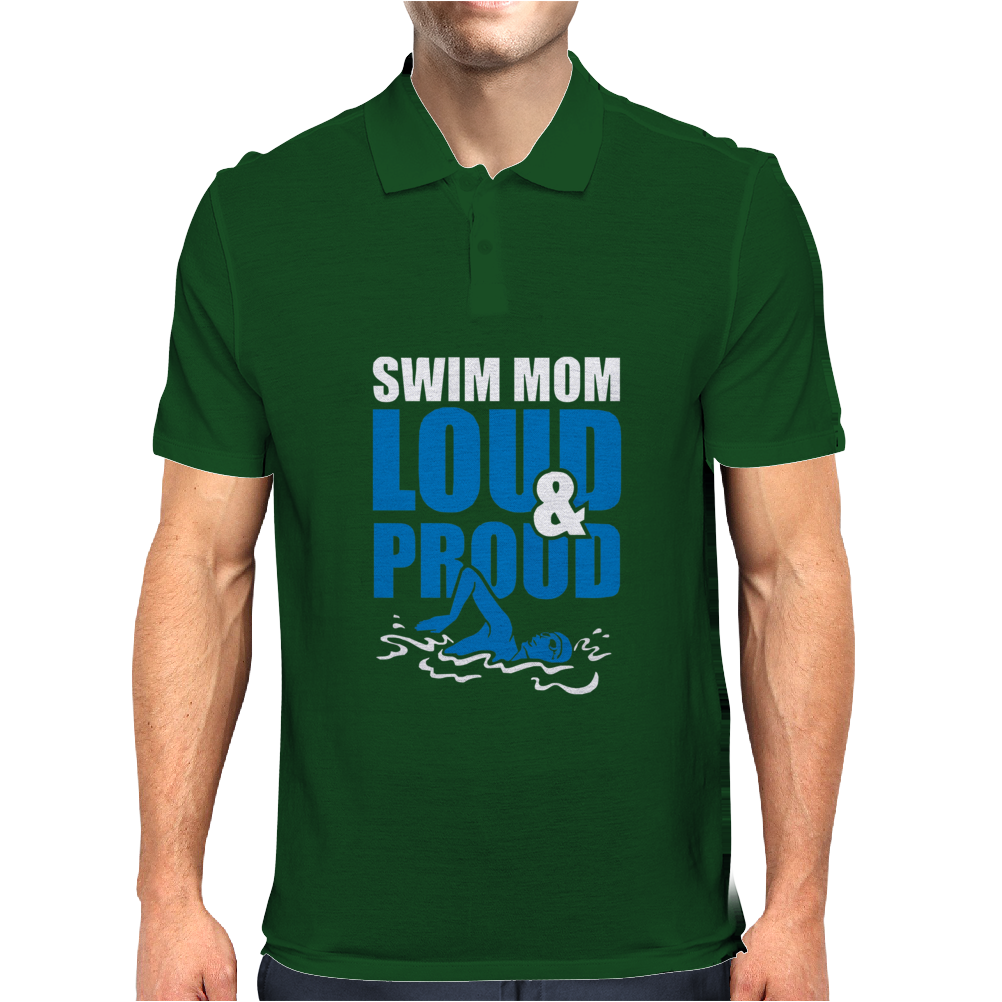 Swim Mom Loud And Proud Sports Athlete Athletic Mens Polo
