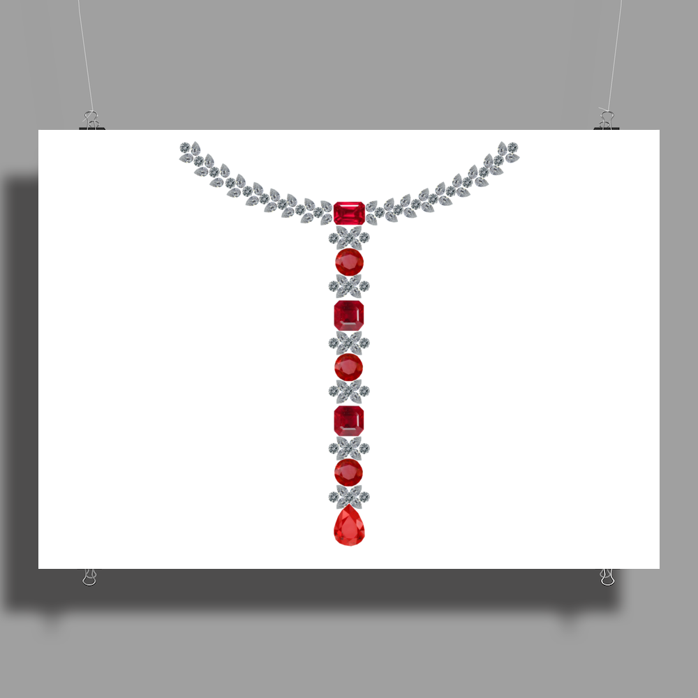 T Diamond Necklace with Rubies Poster Print (Landscape)