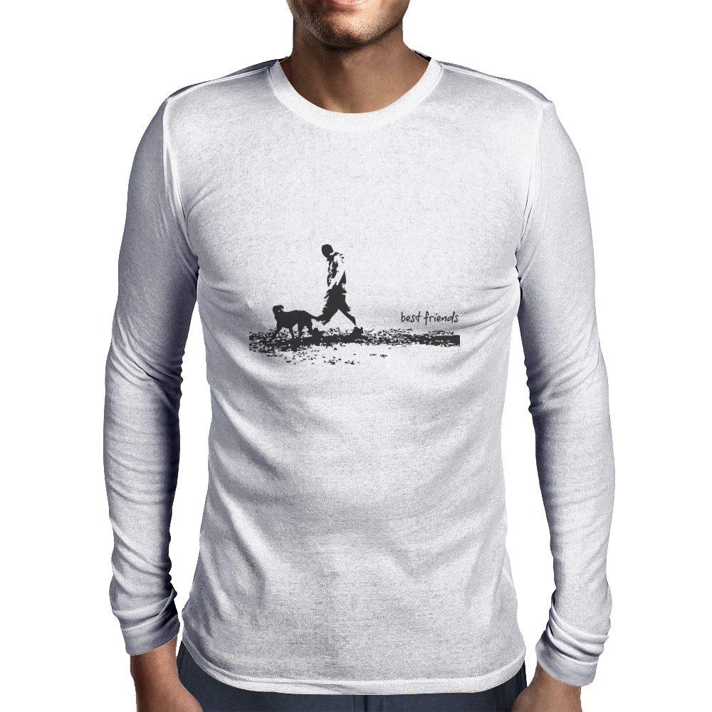 t-shirt,dog,friends,best,man,pet,love,walk Mens Long Sleeve T-Shirt