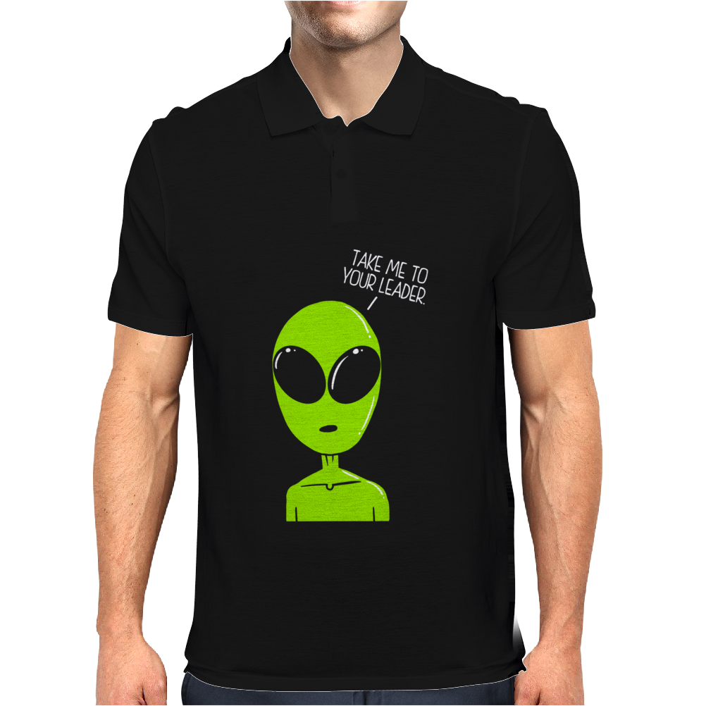 Take Me To Your Leader Alien Mens Polo