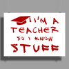 Teachers know stuff - red Poster Print (Landscape)