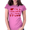 Teachers know stuff - red Womens Fitted T-Shirt